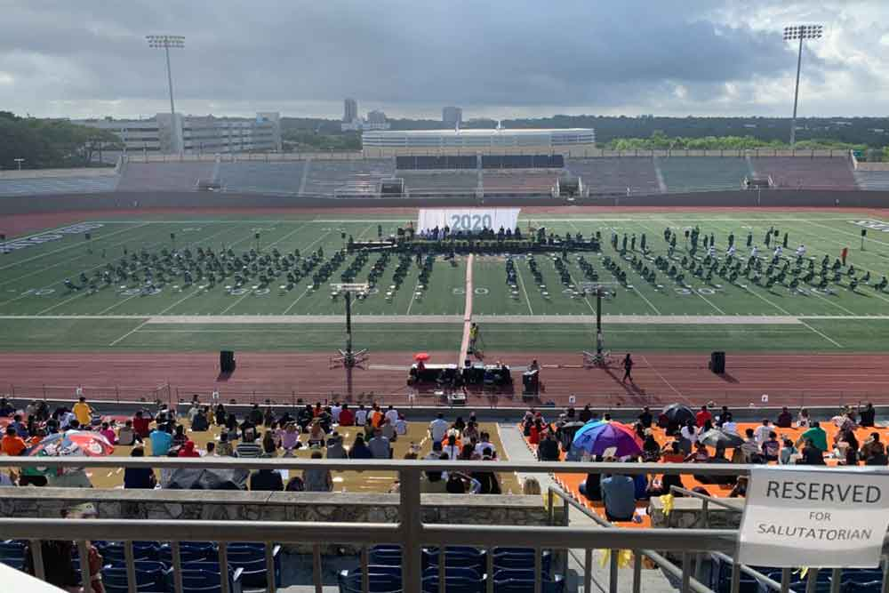 Sam Houston High School's Entire Class of 2020 sat through the National Anthem at their Graduation in Protest.