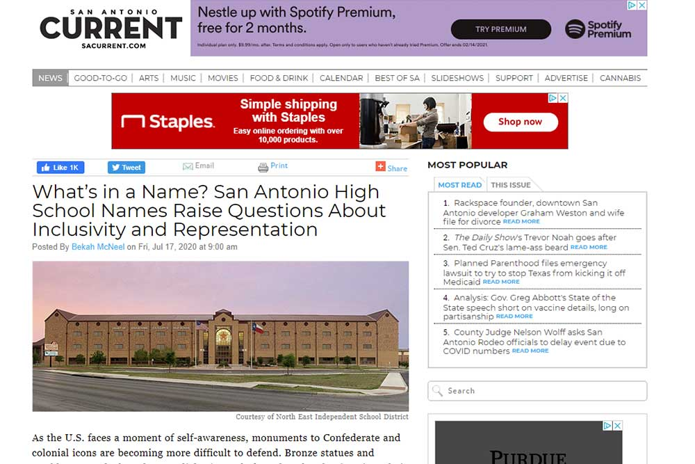 What's in a Name? San Antonio High School Names Raise Questions About Inclusivity and Representation